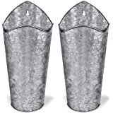 SAND MINE Galvanized Metal Wall Planter, Hanging Wall Flower Vase for Succulents or Herbs, Wall Planters for Country Rustic H