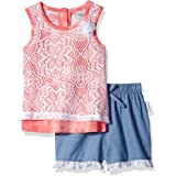 CHEROKEE Toddler Girls' Jersey Tank with Lace Overlay and Chambray Short Set