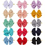 inSowni 15 Pack Big Large Solid Bow Super Stretchy Nylon Headbands Hair Accessories for Baby Girls Toddlers Newborns Infants