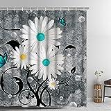 Ikfashoni Floral Butterfly Shower Curtain White Daisy Shower Curtain for Bathroom Farmhouse Rustic Bathroom Curtain with 12 H