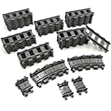ZHX 56PCS City Train Tracks Accessories Straight and Flexible Train Tracks Railroad Building Toy Compatible with Major Brand