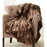 "Pinzon Faux Fur Throw 50"" x 60"", Alpine Brown"