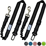 Zenify Dog Car Seat Belt Extendable Lead (2 Pack) - Bungee Leash for Dogs Puppies - Pet Adjustable Elastic Seatbelt Harness V