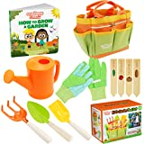 Kids Gardening Tools - Includes Sturdy Tote Bag, Watering Can, Gloves, Shovels, Rake, Stakes, and a Delightful Children's Boo