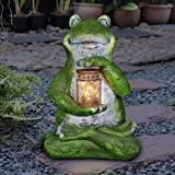 """Exhart Frog with LED Firefly Jar Statue, Solar Powered, Resin & Glass, Weather Resistant, Indoors & Outdoors, 7"""" L x 6"""" W x 1"""