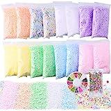 Slime Foam Beads Floam Balls - 18 Pack Pastel Microfoam Beads Kit 0.1-0.14 inch (90,000 Pcs) Micro Colors Rainbow Fruit Beads