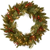 National Tree 24 Inch Feel Real ® Classical Collection Wreath with 8 Red Berries, 8 Cedar Leaves and 50 Battery Operated Warm