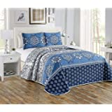 Luxury Home Collection 3 Piece King/California King Oversize Quilted Reversible Coverlet Bedspread Bed Cover Set Floral Print