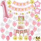 Baby Girl First Birthday Decorations - 1st Birthday Girl Decorations Pink and Gold Party Supplies - Happy First Birthday Bann