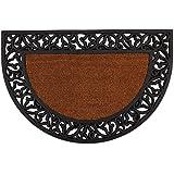 DII Indoor Outdoor Rubber Easy Clean Entry Way Welcome Doormat, Leaves Half Round, 24x36