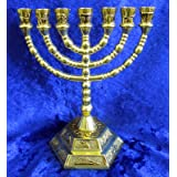 12 Tribes of Israel Jerusalem Temple Menorah choose from 3 Sizes Gold or Silver (Gold 5 Inches)