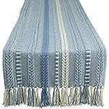 DII Farmhouse Braided Table Runner, 15x72, Stonewash Blue