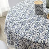 ColorBird Vintage Navy Damask Pattern Decorative Macrame Lace Tablecloth Heavy Weight Cotton Linen Fabric Decorative Table To