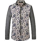 SSLR Men's Floral Cotton Button Down Long Sleeve Hawaiian Shirt