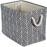 DII Collapsible Herringbone Polyester Storage Basket, Large, Gray