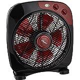 PowerPac PPBF30 Electric Box Fan, Desk, table fan with Timer,12 Inch Black