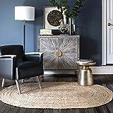 nuLOOM Natural Hand Woven Rigo Jute rug Oval 3' x 5'