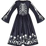 Girls Dress Halloween Ghost Skull Vampire Girl Cosplay Size 7-14 Years