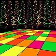 WATINC 35pcs Neon Party Decoration Supplies, Black Light 20 Sheets Neon Paper and 15pcs Neon Hanging Swirls for Birthday Wedd