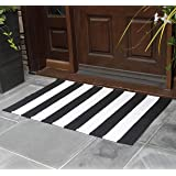 NANTA Black and White Rug Striped Rug Cotton Hand-Woven Rugs for Welcome Door Mat Porch/Kitchen/Entry Way 27.5 x 43 Inches 2x