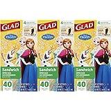 Glad Zipper Food Storage Sandwich Bags - Disney Frozen - 120 Count - (Pack of 3)
