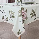 Decorative Camellia Floral Print Lace Water Resistant Tablecloth Wrinkle Free and Stain Resistant Fabric Tablecloths for Dini