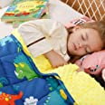 BUZIO Kids Weighted Blanket 5 lbs, Ultra Cozy Minky Fleece and Cotton Sided with Cartoon Patterns, Reversible Heavy Blanket G