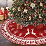 OurWarm 48 Inch Christmas Tree Skirt, Red Christmas Tree Skirt with Snowflak & Elk, Knitted Double-Sided Rustic Christmas Tre