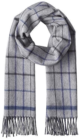 Wool Angora Tattersall Scarf 118-35-0212: Light Grey