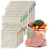 12+1 Reusable Produce Bags Organic Cotton | Mesh Produce Bags | Double-Stitched & Tare Weigh | Washable | Lightweight | Cotto