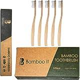 BAMBOO IT - Natural Bamboo Toothbrushes (5 Pack), Medium Nylon Bristles -100% Organic Handle, Biodegradable Bamboo Toothbrush