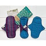 軽い日用3枚セット 南インド「Eco Femme」布ナプキン 洗えるオーガニックコットン(肌面色付き)防水あり・内側に3層のフランネル使用 GOTS認定品