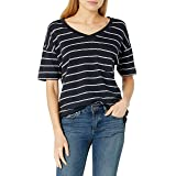 Amazon Brand - Daily Ritual Women's Cotton Modal Stretch Slub Oversized Short-Sleeve V-Neck Pocket T-Shirt