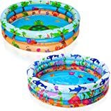 JOYIN Inflatable Kiddie Pool, Beach Ocean 3 Ring Summer Fun Swimming Pool for Kids, Water Pool Baby Pool for Summer Fun, 47 i