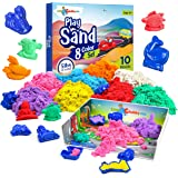 LITTLE CHUBBY ONE 8 Color Kids Play Sand Set - 5 Lbs of Sand - Toy Magic Sand Set - 10 Molds and Tray for Girls and Boys - Id