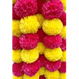Decoration Craft Pack of 5 Artificial Yellow & Dark Pink Marigold Flower Garlands 5 Ft Long, for Parties Indian Weddings Indi