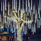Joiedomi Christmas Meteor Shower Lights Falling Rain Drop Icicle String Lights 540 LEDs 10 Tube 50cm White for Christmas Holi