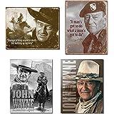 Bundle: Retro Tin John Wayne Sign Set - John Wayne Courage, John Wayne Man's Gotta Do, John Wayne American Legend and John Wa