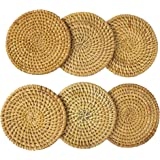 Set of 6 Rattan Coasters for Drink Set Coffee Tea Cup Mat Teapot Vine Placemat Handmade Rustic Decorative Coaster for Kitchen