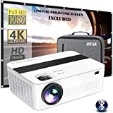 "1080P Projector,JIFAR 7000Lux HD Projector with 400"" 4k dispaly, Support Zoom, Official Business & Home & Outdoor Projector C"