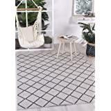 Home Culture Courtyard Diamond Indoor/Outdoor Beige Rug-Durable Rugs for Bedroom, Living Room, High Traffic Areas of Home and