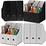 (Black, White) - Simple Houseware White/Black Magazine File Holder Organiser Box (Pack of 12)