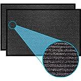 LuxUrux Durable Rubber Door Mat Set, Heavy Duty Doormat, Indoor Outdoor Rug, Easy Clean, Waterproof, Low-Profile Door Rugs fo