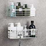 LUXEAR 浴室ラック 2個入り バスルーム掛けラック 浴室用ラック 収納ラック 粘着式 洗面所ラック ステンレス キ…