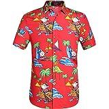 SSLR Men's Santa Claus Button Down Funny Hawaiian Christmas Shirts