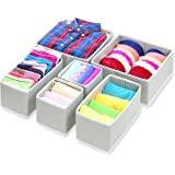 SimpleHouseware Foldable Cloth Storage Box Closet Dresser Drawer Divider Organizer Basket Bins for Underwear Bras Gray (Set o