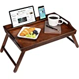 Rossie Home Media Bed Tray with Phone Holder - Fits Up To 17.3 Inch Laptops and Most Tablets - Espresso Bamboo - style No. 78