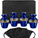 Serenity Blue Beautiful Small Mini Keepsake Urn for Human Ashes - Set of 4 - with Velvet Case and 4 Pouches