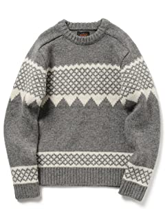 Snow Pattern Wool Crewneck Sweater 11-15-0689-048: Grey