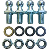 "(4 Pack) 10mm Ball Studs With Hardware - 5/16-18 Thread x 3/4"" Long Shank - Gas Lift Support Strut Fitting 10mm Ball Stud, 1/"